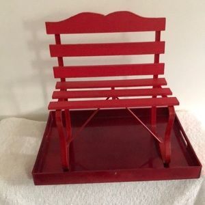 NWOT Home Decor: Red Decorative Craft Bench
